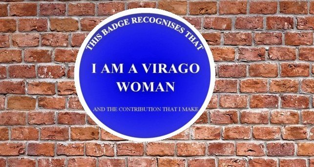 A blue plaque made by virago, recognising the contribution women make to our society