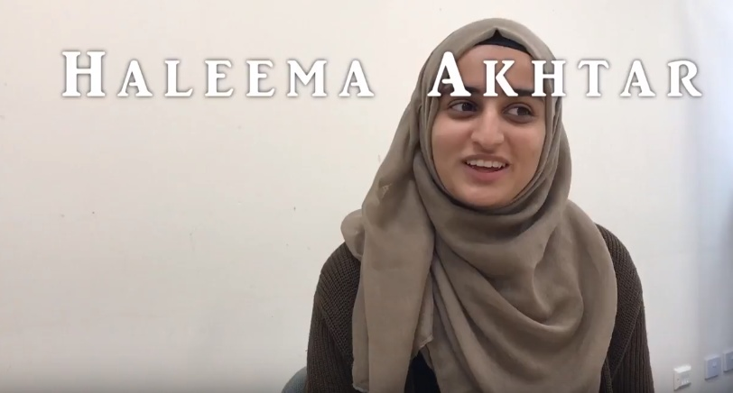 A Still from the video of inspirational woman Haleema Aktar a Muslim headscarf wearing young woman