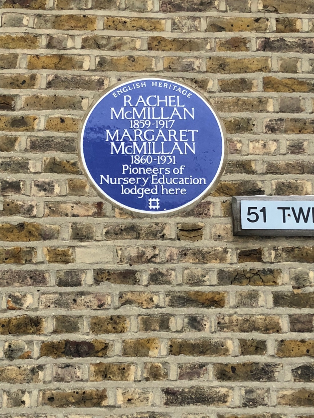 The McMillan sisters are commemorated with a blue plaque in Bromley